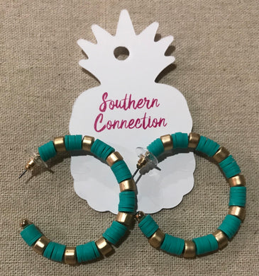 Southern Connection ~ Turquoise rubber disk hoops