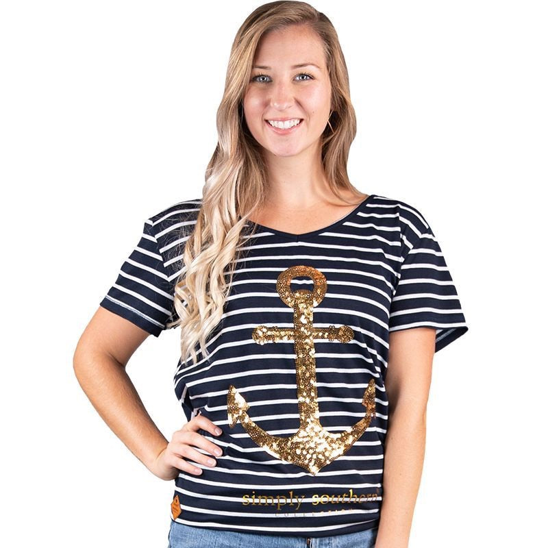 Simply Southern ~ Anchor Sequins Cross back Shirt