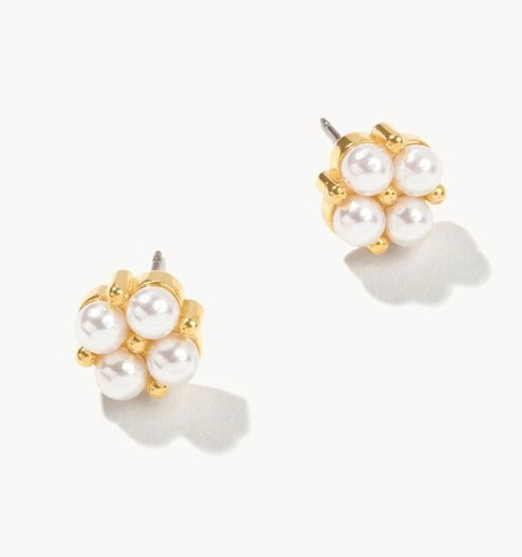 Spartina ~ Clover Stud Earrings Pearl