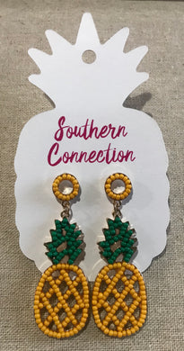 Southern Connection ~ Classy Beaded Pineapple Earrings