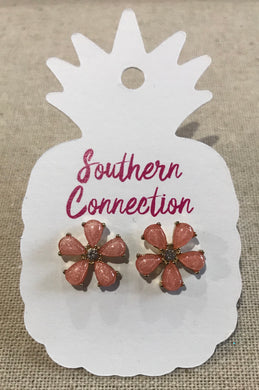 Southern Connection ~ Peach flower post earrings