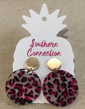 Southern Connection ~ Round acrylic cheetah drop earrings