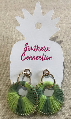 Southern Connection ~ Green Raffia Earrings