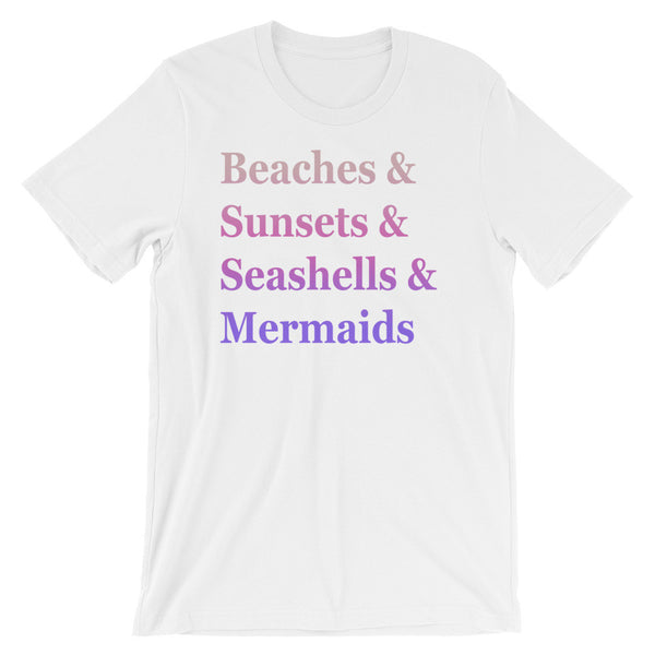 Beaches & Faded text Unisex short sleeve t-shirt