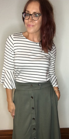 Midi-Skirt with Button Front Detail