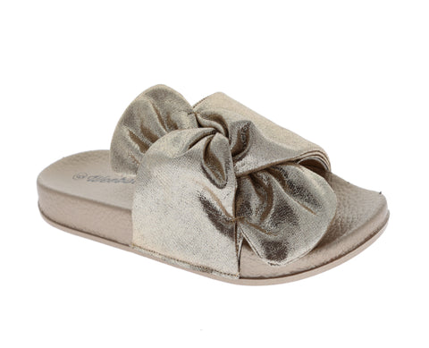 Metallic Knot Slide On Sandals