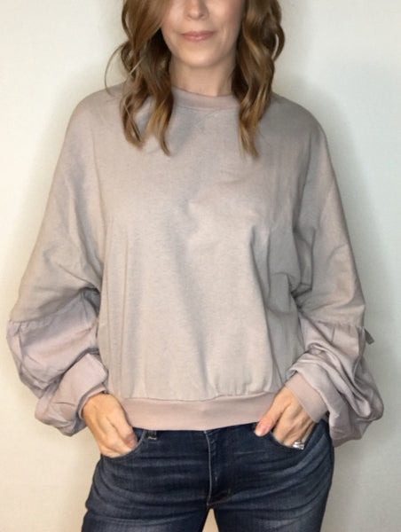 French Terry Top with Puff Sleeve Detail