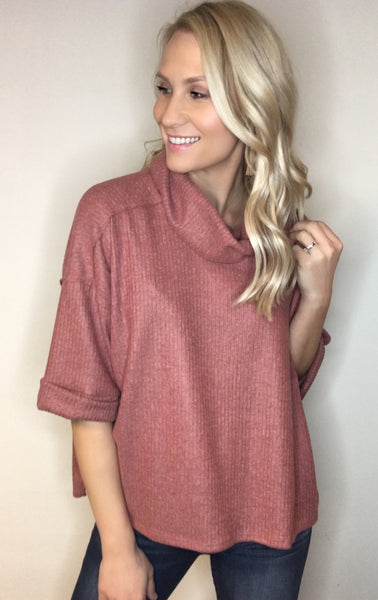 Funnel Neck Elbow Sleeve Top