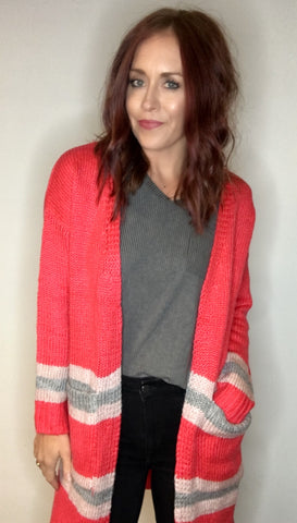 Pop Of Pink Open Front Cardigan