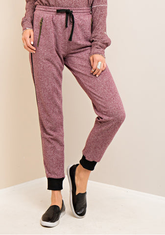 Jogger Pants with Zipper Pocket Detail - Berry