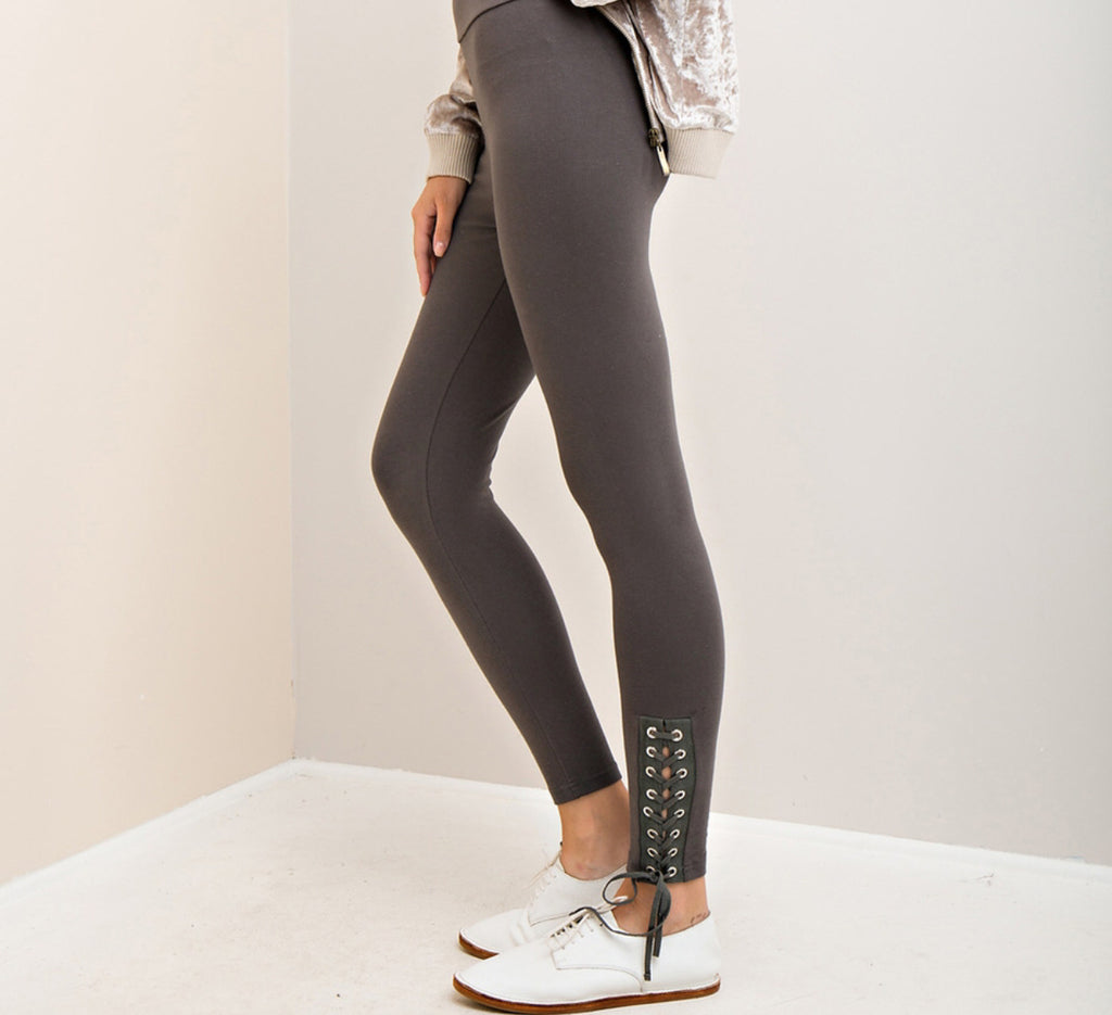 Lace-up Leggings - Charcoal