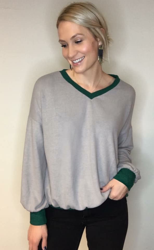 Softest Touch Vneck Pullover with Contrast Trim