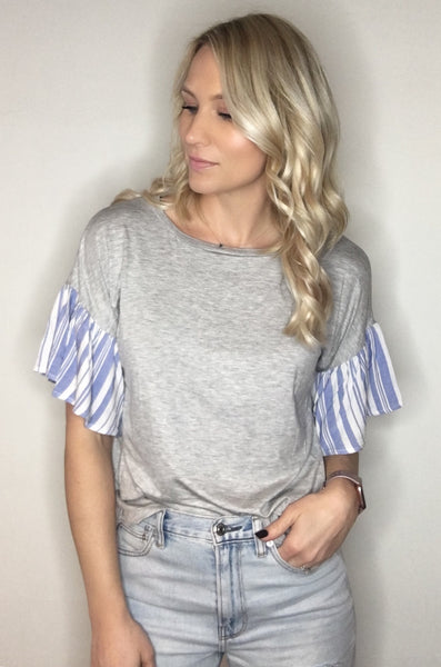 Contrast Flutter Sleeve Top