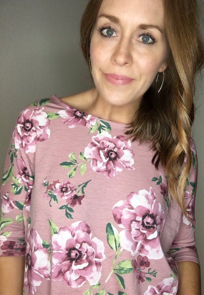 Elbow Sleeve Floral Tunic Top