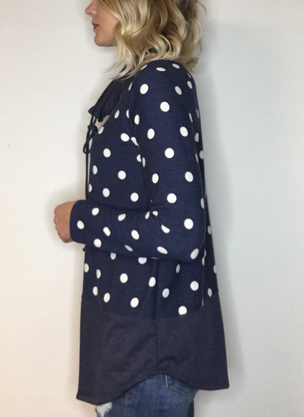Polka Dot Tunic with Funnel Neck