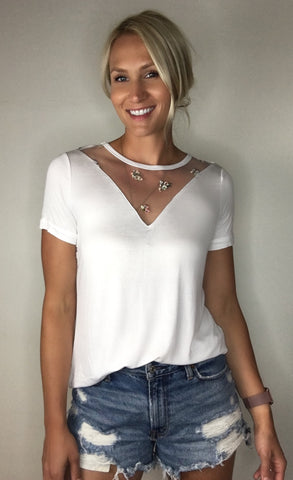 Embroidered Vneck Tee