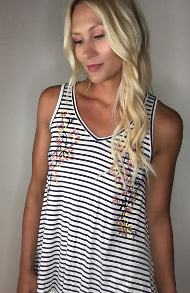 Floral Embroidered Look Tank