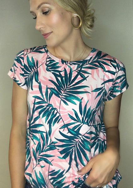 Palm Print SS Top