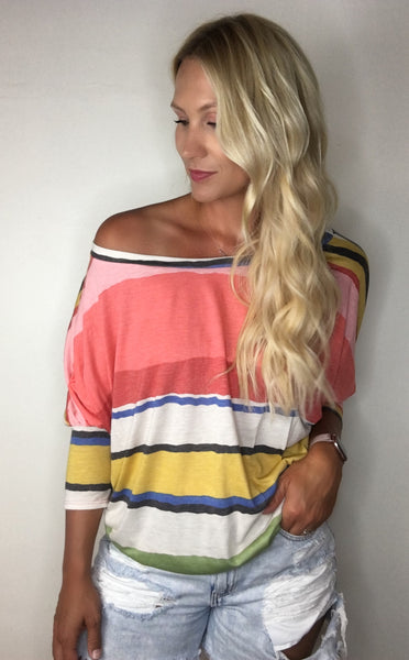 Multi-Color Striped Dolman Sleeve Top