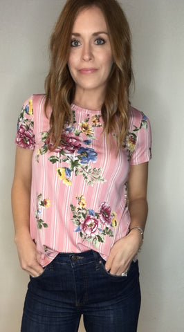 Pinstripe Tee with Floral Print