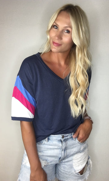 Vneck Tee with Sleeve Detail