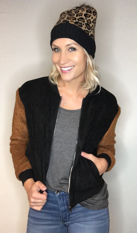 Suede Bomber Jacket with Teddy Sleeve