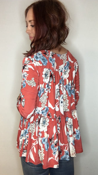 Fall Floral Blouse with Stretch