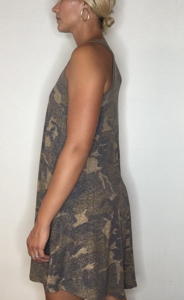 Sleeveless Camo Swing Dress