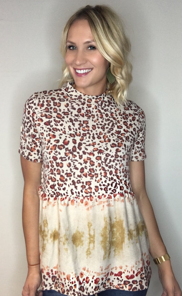 Leopard Print Top with Tie Dye Detail