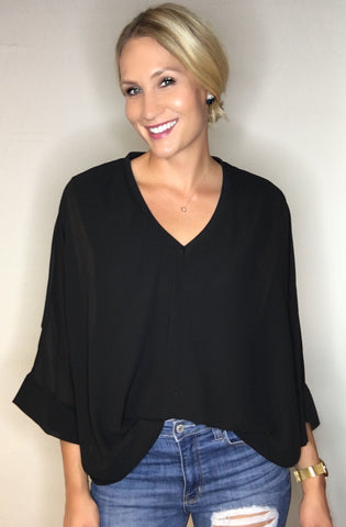 Vneck Draped Blouse - Black