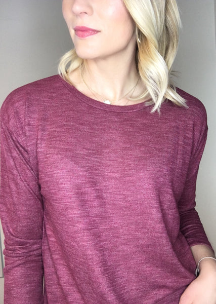Heathered Lightweight Pullover - Berry