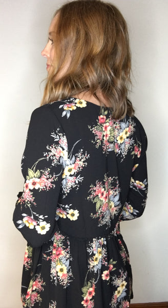 Floral Blouse with Ladder Front Detail