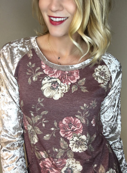 Floral Print Top with Velvet Sleeve