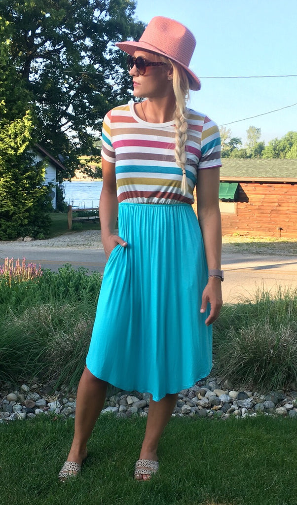 Colorful Striped Midi Dress
