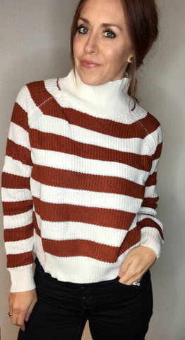 Boxy Striped Turtleneck Sweater