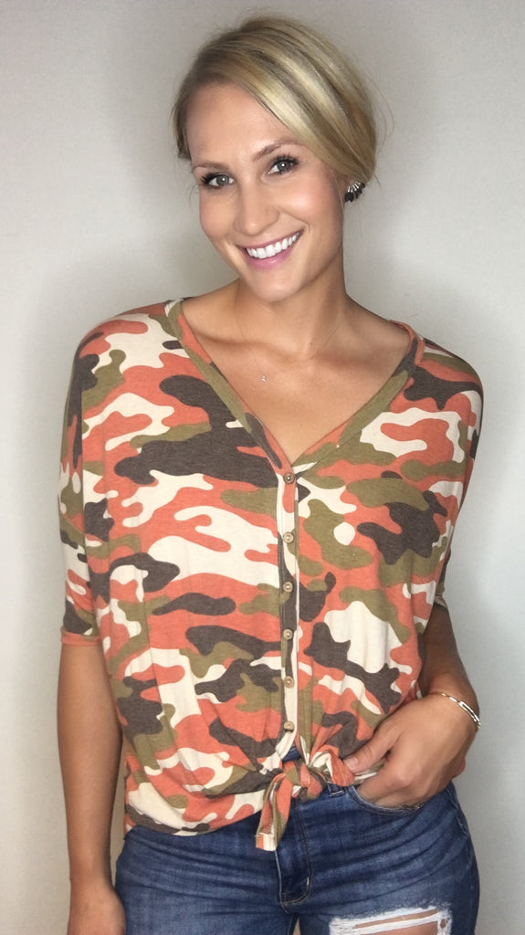Camo Top with Button Detail