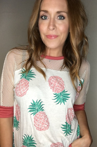 Pineapple Print Mesh Top