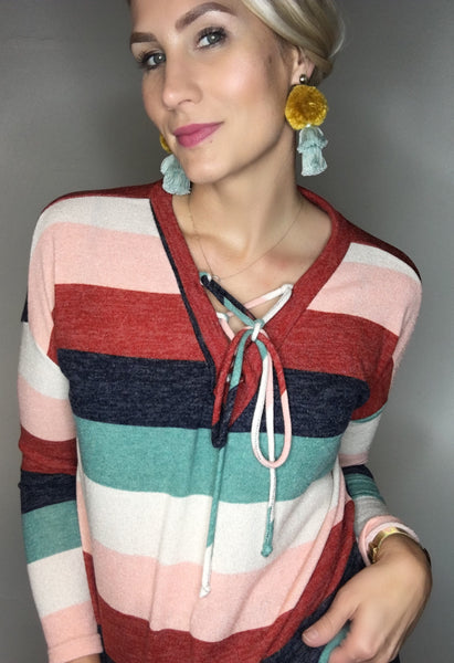 Lace Up Colorful Stripe Knit Top