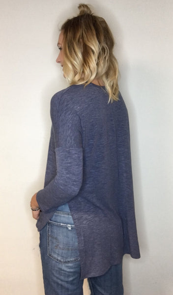 Cut-out Shoulder Tunic Top with Side Slit - Blue