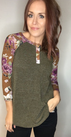 Fall Floral Baseball Style Top with Button Detail