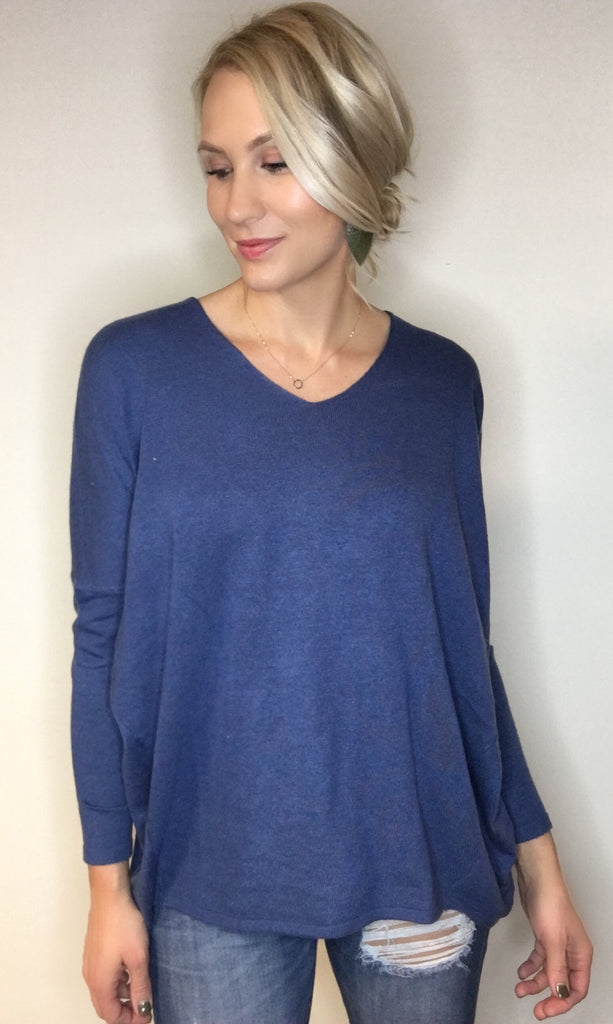 Up To The Hype V-Neck Sweater - Navy