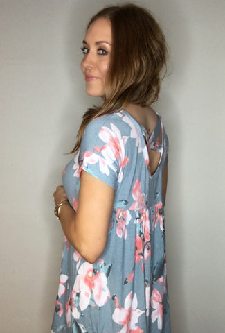 Cross Back Floral Tunic