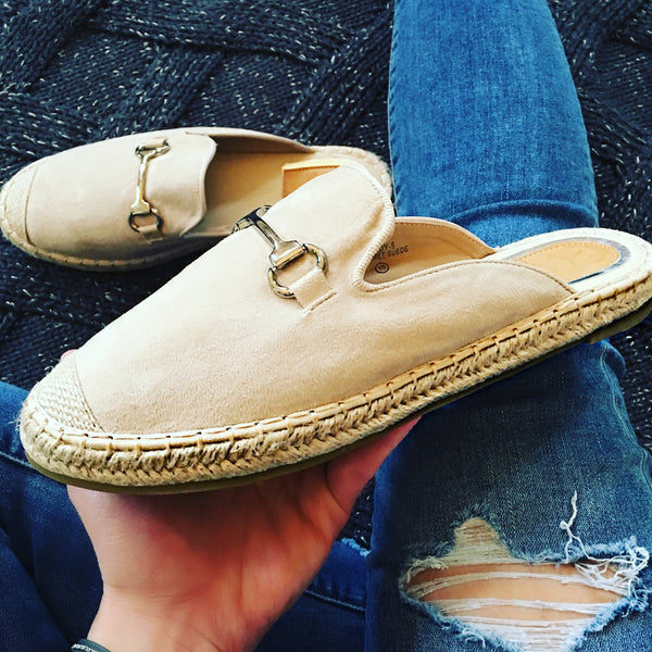 Faux Suede Espadrille Mule with Buckle Detail