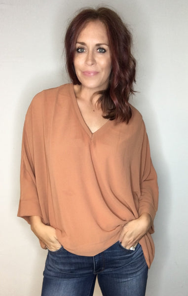 Vneck Draped Blouse - Clay