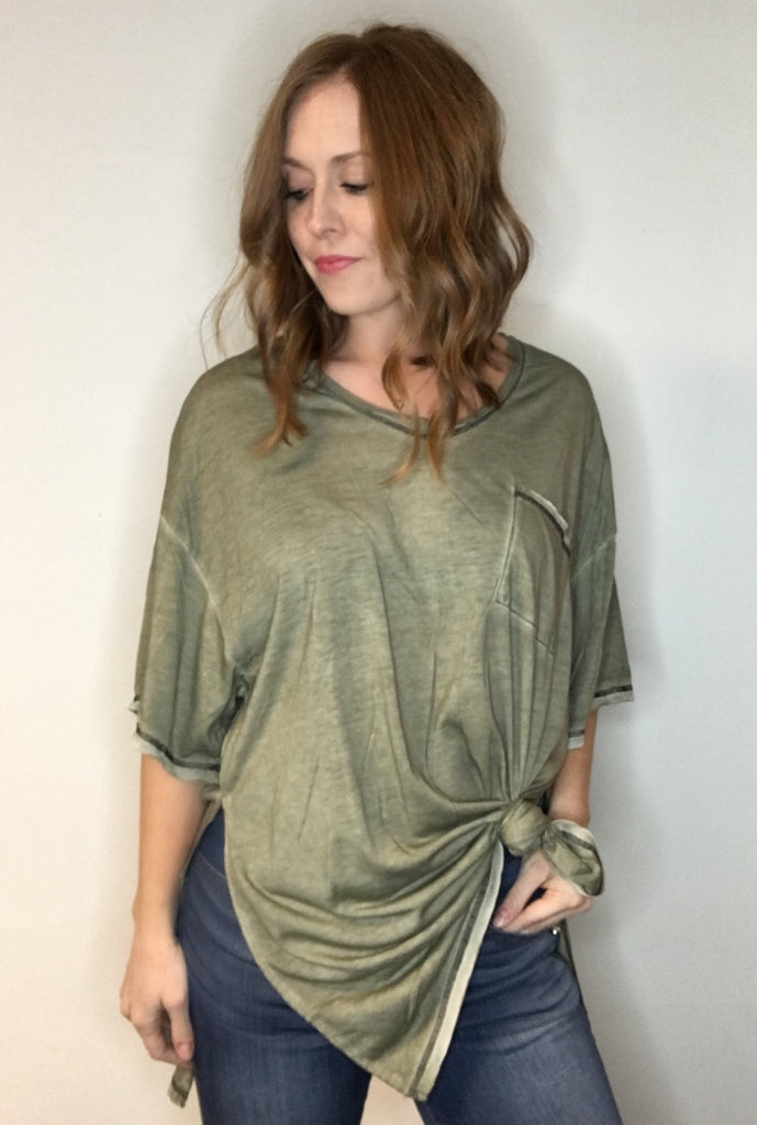 High Side-Slit Tunic Top with Pocket