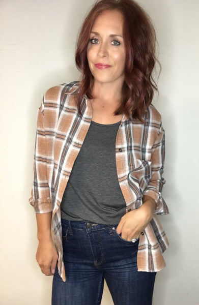 Lightweight Plaid Flannel Top