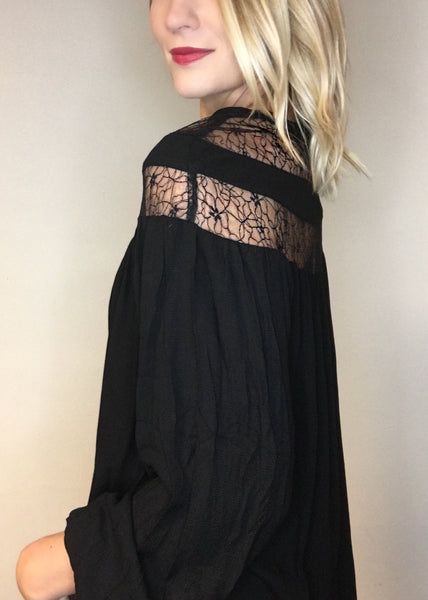 Drapey Blouse with Lace Detail