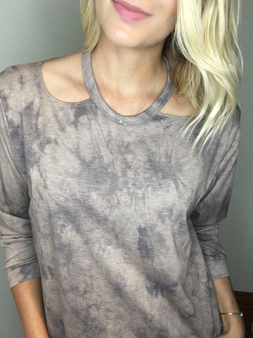 Cutout Neck Long Sleeve Marbled Top