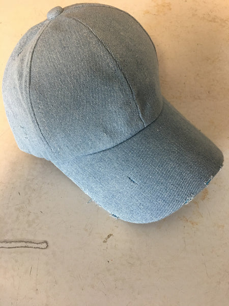 Distressed Denim Baseball Hat