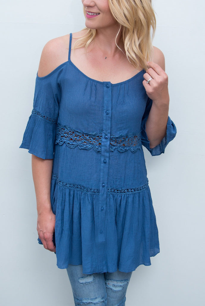 Button Down Tunic Top with Lace Detail